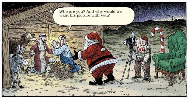 santa and nativity scene